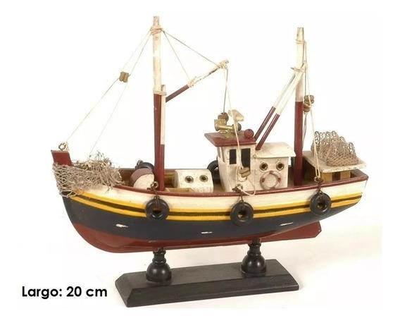 Barco Pesquero De Madera A Escala Decorativo Regalo
