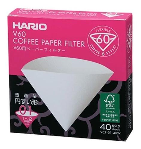 Filtro De Papel Branco - Hario V60-02 - 40 Unidades