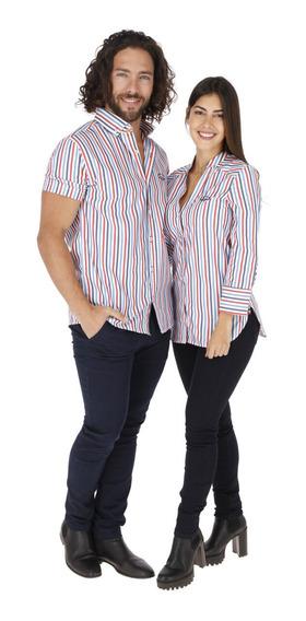 Camisas Para Hombre O Mujer Porto Blanco Rayas Rojas Mao