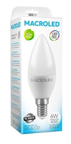 Macroled Lampara Led Vela C37 6w Blanco Frío 6500k E14