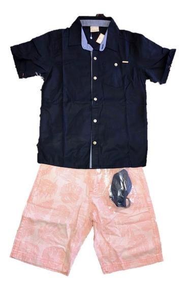 Promoção Conjunto Infantil Milon Camisa Bermuda Menino Tam. 8 Azul/salmão Para Festa, Casual, Oferta
