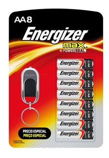 Pilas Energizer Alcalinas X 8 + Linterna Llavero