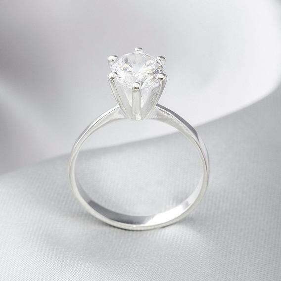 Anel De Prata Solitário Com Zircônia Cristal