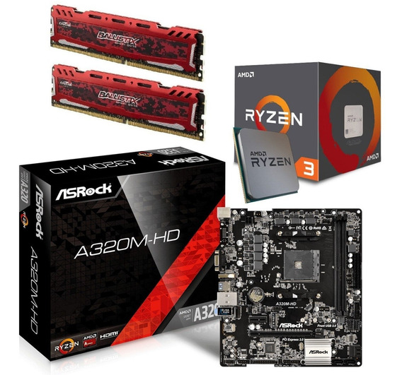 Kit Amd Ryzen3 2200g C/vídeo Mb A320m Hd Bl 2x 4gb 2666 Mhz