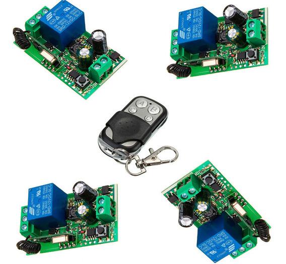 4x Módulo Relé Rf 1 Canais + 1 Controle 433 Mhz, 110v - 220v