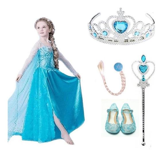 Disfraz Frozen Elsa +vara+corona+trenza+zapatos Cumpleaños