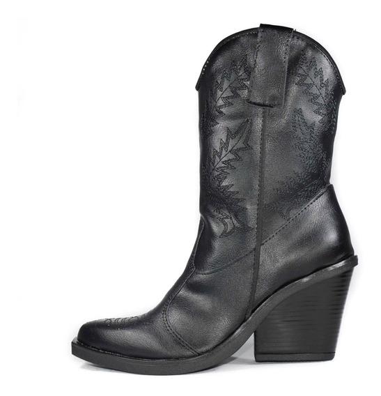 Bota Texana Alta Mujer Dama Invierno Cuero Eco Moda Zapatos