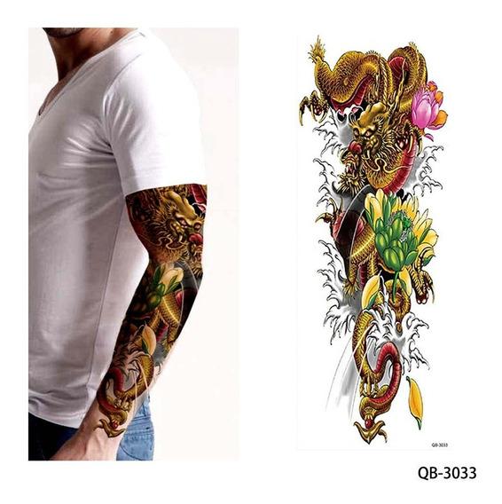 Tatuagem Temporária Grande 46 Cm Dragão Ou Rei Macaco