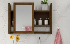 Espelheira / Gabinete De Madeira Com Espelho Para Banheiro