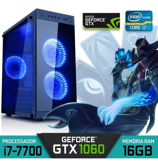 Computador Gamer Intel Core I7-7700 Ram 16gb Gtx 1060 Hd 1tb