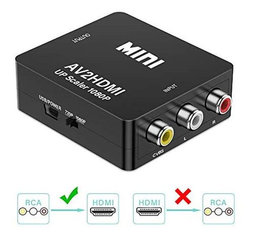 Convertidor Rca A Hdmi 1080p Mini Cvbs A Hdmi