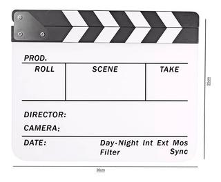 Claqueta 25x30cm Para Produccion Cine Acrilico Monocromatica