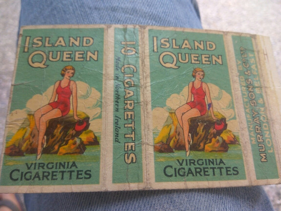 Marquilla De Cigarro Queen Island , Etiqueta Antigua