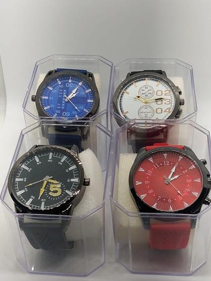 Kit C/ 4 Relógio Masculino + 4 Caixas Na Promoção