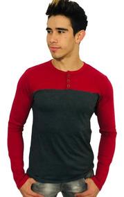 Playera Manga Larga Gris Oxford Rojo- Peaceful Clothing Co.