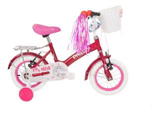 Bicicleta Philco Rodado 12 Con Rueditas Y Canasto Rosa