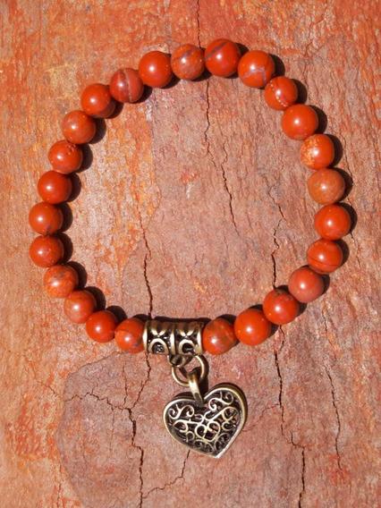 Pulseira Pedra Natural Jaspe Vermelho Coração Ouro Velho