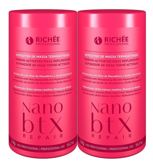 Kit Richée Nano Btx Repair Repositor De Massa Máscara 2x1kg