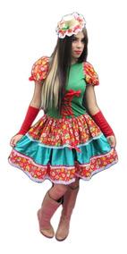 Vestido Festa Junina Quadrilha Arraiá Caipira + Luva + Laço