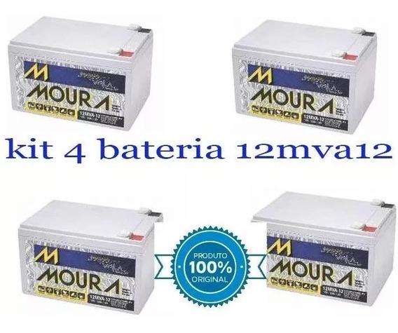 Kit 4 Bateria Moura 12ah 12v Bike Elétrica 6-dzm-10 6-dzm-12