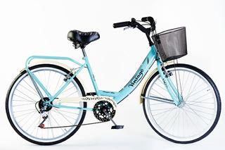 Bicicleta Paseo Dama Vintage Con Cambios Rodado 26