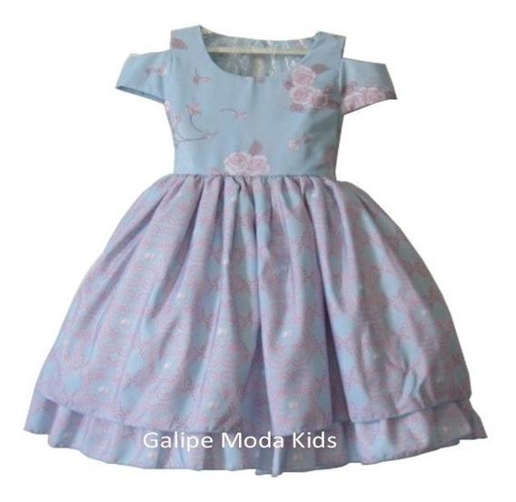 Vestido Azul E Rosa Infantil Juvenil Tamanho 4 Ao 12