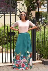 Saia Longa Estampada Com Barra Floral Florida Roupa Feminina