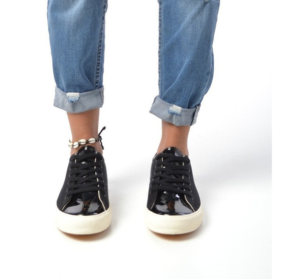 Zapatillas Mujer Cuero Eco Vegano Negro