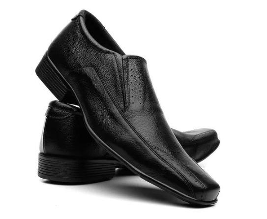 Sapatos Social Masculino Em Couro Liso Preto + Frete Gratis