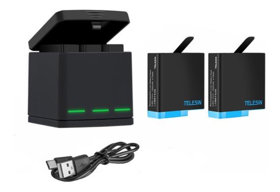 Carregador Triplo Telesin + 2x Baterias Gopro Hero 5 6 7 E 8