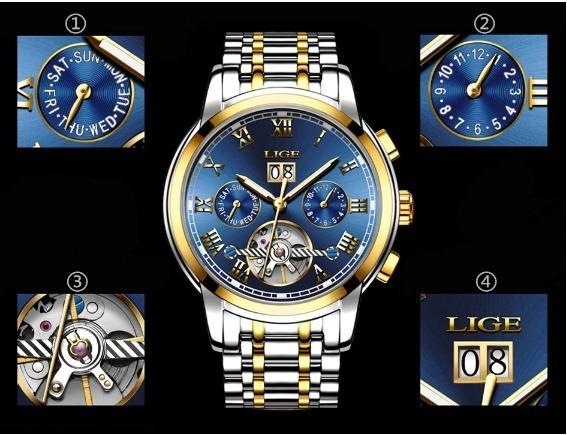 Relógio Super Luxo Banhado Em Ouro E Prata P/homens Especiai