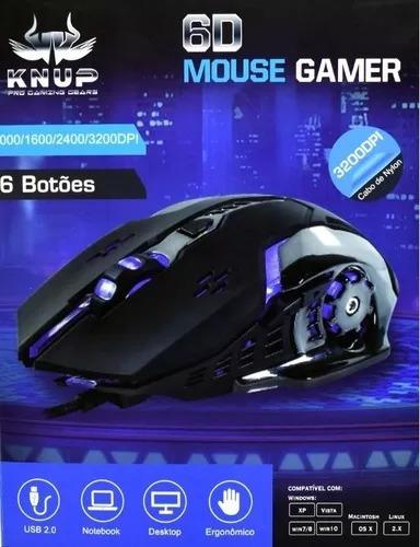 Mouse Gamer Knup Kp V-37 3200dpi 6b Kit 5pçs.