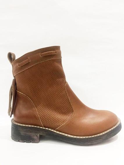Zapato Lucerna Borcego Cuero Suela Flecos