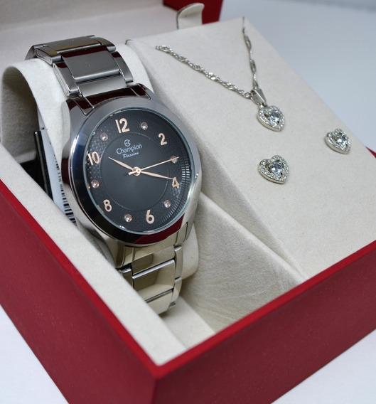 Kit Relógio Champion Feminino Cn29230x