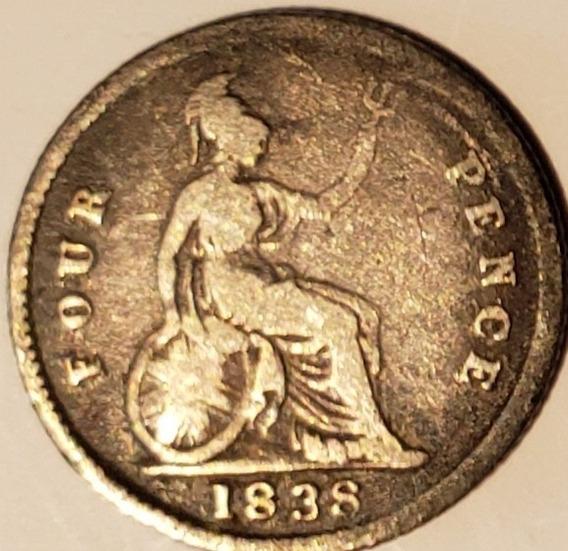 Inglaterra 1838 4 Pence Moneda Antigua Gran Bretaña