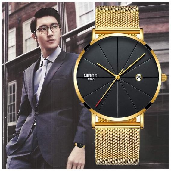 Relógio Masculino Nibosi Slim Ni2321 + Pulseira De Brinde