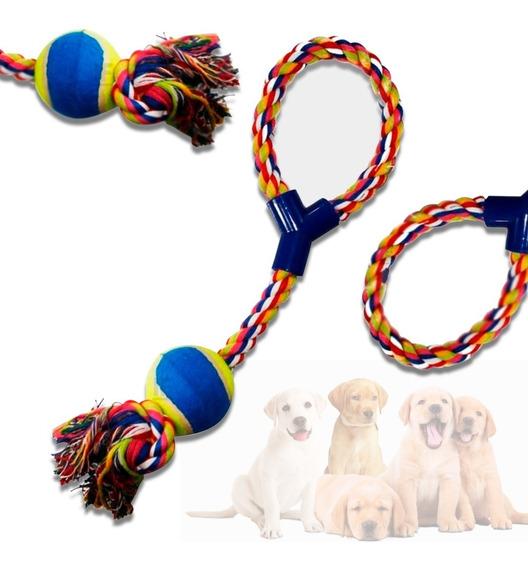 Brinquedo Mordedor Para Pet Cachorro Interativo Corda Bola