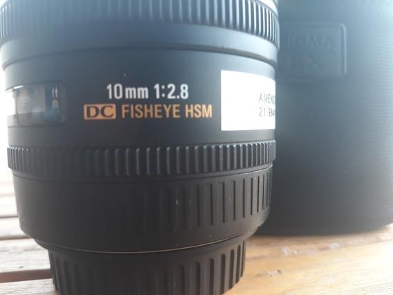 Lente Fisheye 10mm 2.8 Sigma Para Canon - Novíssima