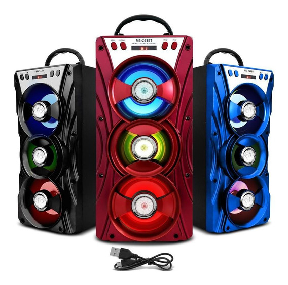Caixa De Som Portátil 269bt Bluetooth Mp3 Usb Amplificada