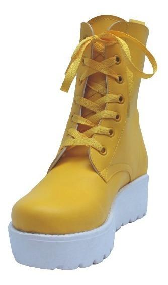 Borcego De Lluvia De Goma Con Plataforma Amarillo Talle 38