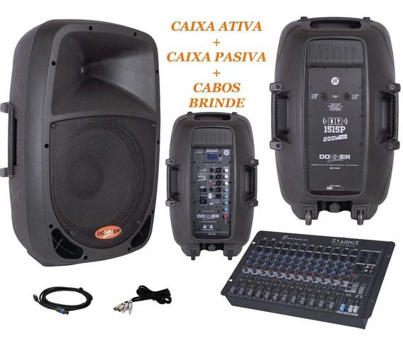 Kit Caixa Ativa 15 + Passiva 15 Mesa Som 12 Canais 300w Nca