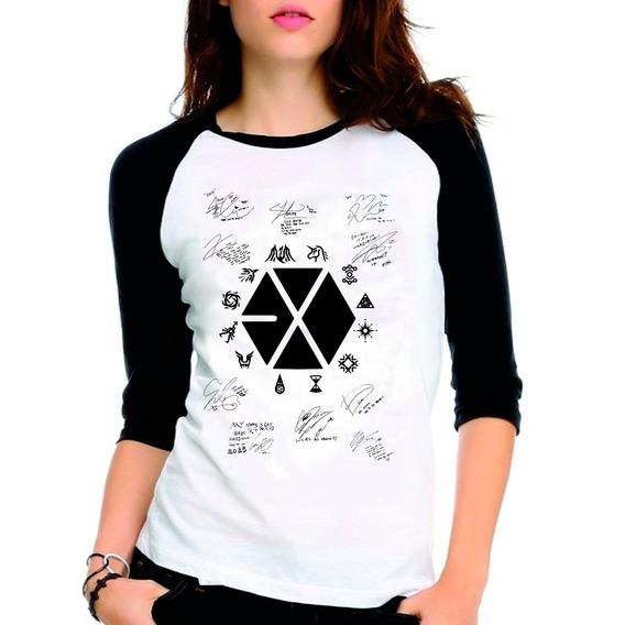 Camiseta Exo Planet Kpop Autógrafos Raglan Babylook 3/4