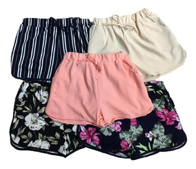 Shorts Kit10 Feminino Malha Estampa E Lisa Atacado Revenda