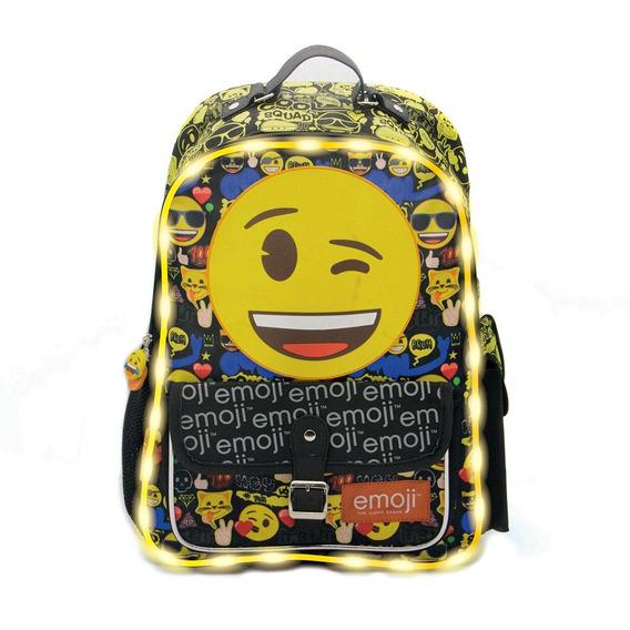Mochila De Espalda Emoji C/luz Tt070 Licencia Original 16
