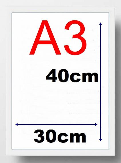 5 Moldura Quadro A3 30x40 Com Vidro E Forro Mdf Cor Branca