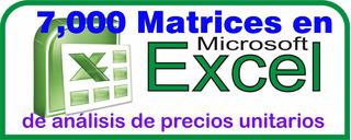 7000 Análisis De Precios Unitarios En Excel Actual Enero2017