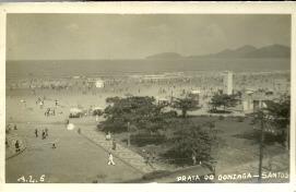 Cartao Postal Antigo - Praia Do Gonzaga - Santos - Sao Paulo