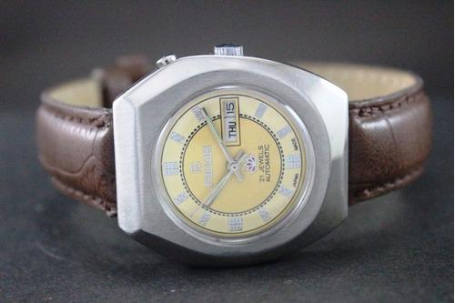 Relógio Ricoh Automático De Coleção Japonês Amarelo 2 Tons.