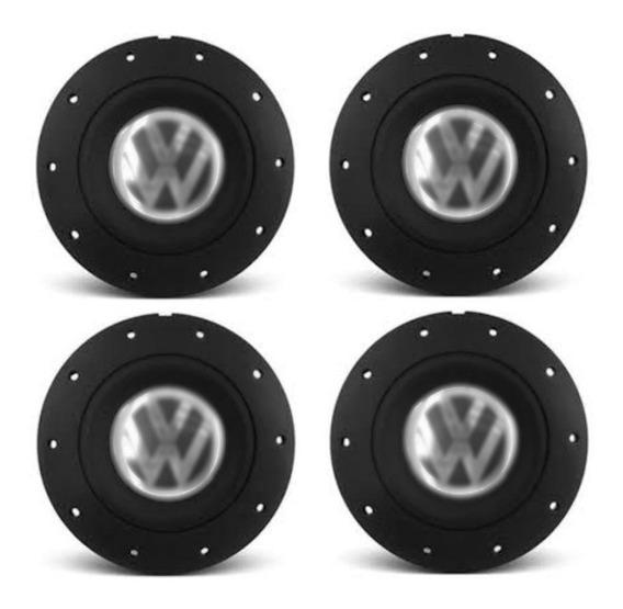 Kit Calota Miolo Volkswagen Preta Amarok 4 Furos Eurovan