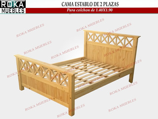 Cama X Cruz 2 Plazas P-colchon 1.40x1.90 Pino Reforzado Roka